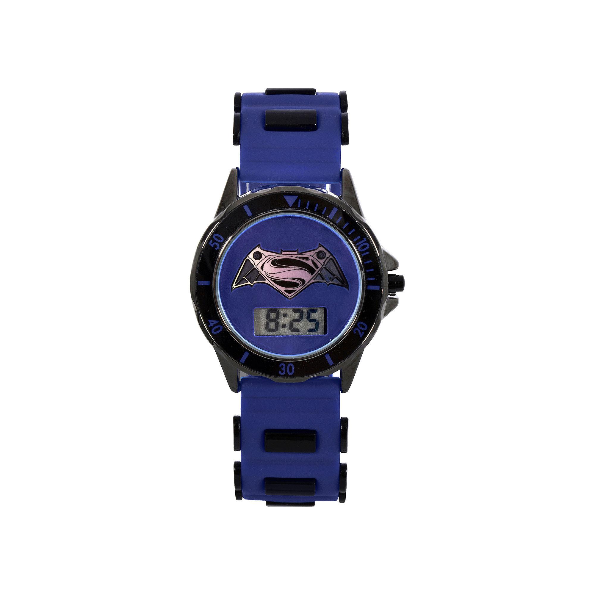 DC Comics Batman vs. Superman LCD Dial Black and Blue Silicone Strap Watch