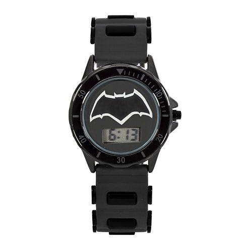DC Comics® Batman vs. Superman LCD Dial Black Silicone Strap Watch