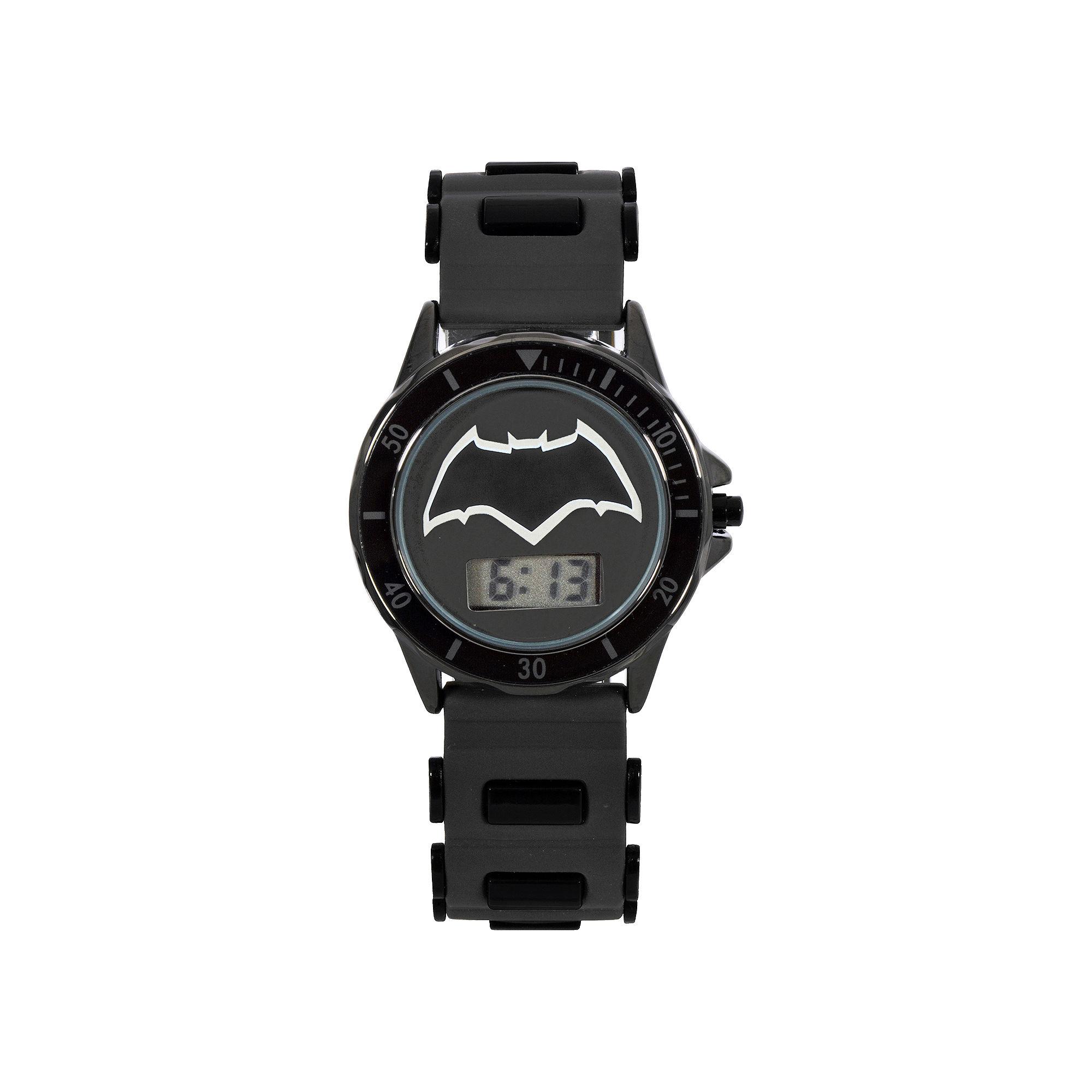 DC Comics Batman vs. Superman LCD Dial Black Silicone Strap Watch