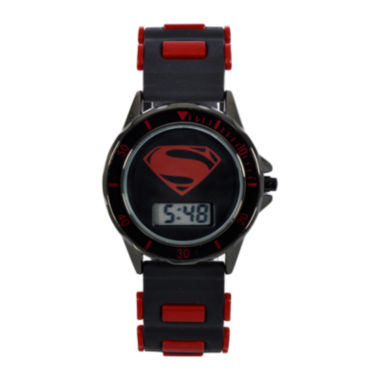 jcpenney.com | DC Comics® Batman vs. Superman LCD Dial Black and Red Silicone Strap Watch