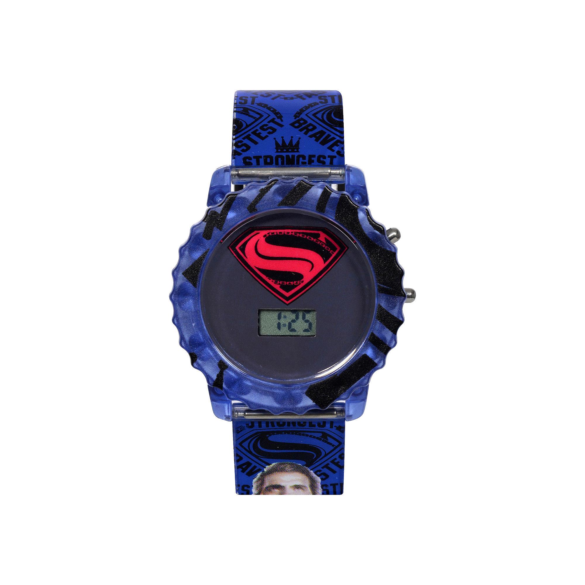 DC Comics Batman vs. Superman LCD Rotating Flash Dial with Superman Strap Watch