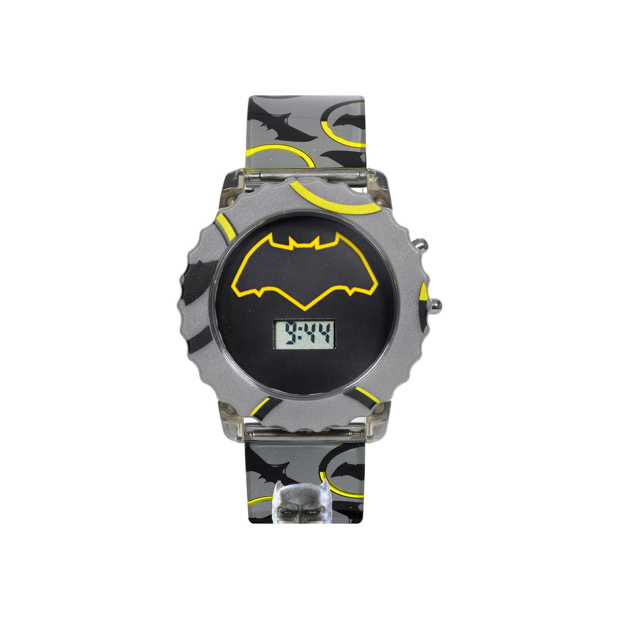 DC Comics Batman vs. Superman LCD Rotating Flash Dial with Batman Strap Watch