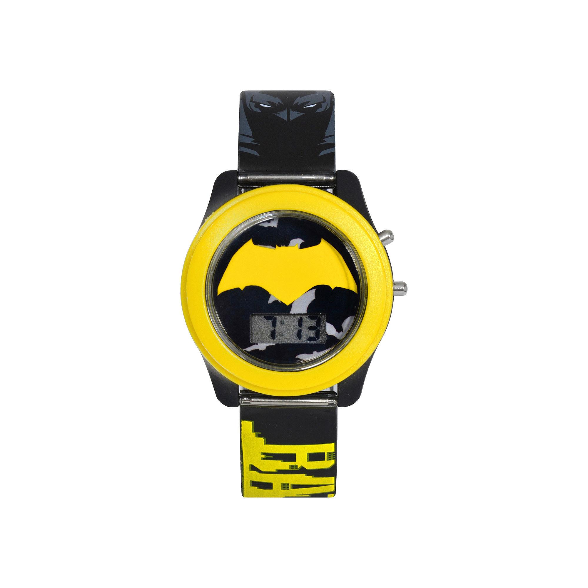 DC Comics Batman vs. Superman LCD Flash Dial with Printed Yellow Batman Watch