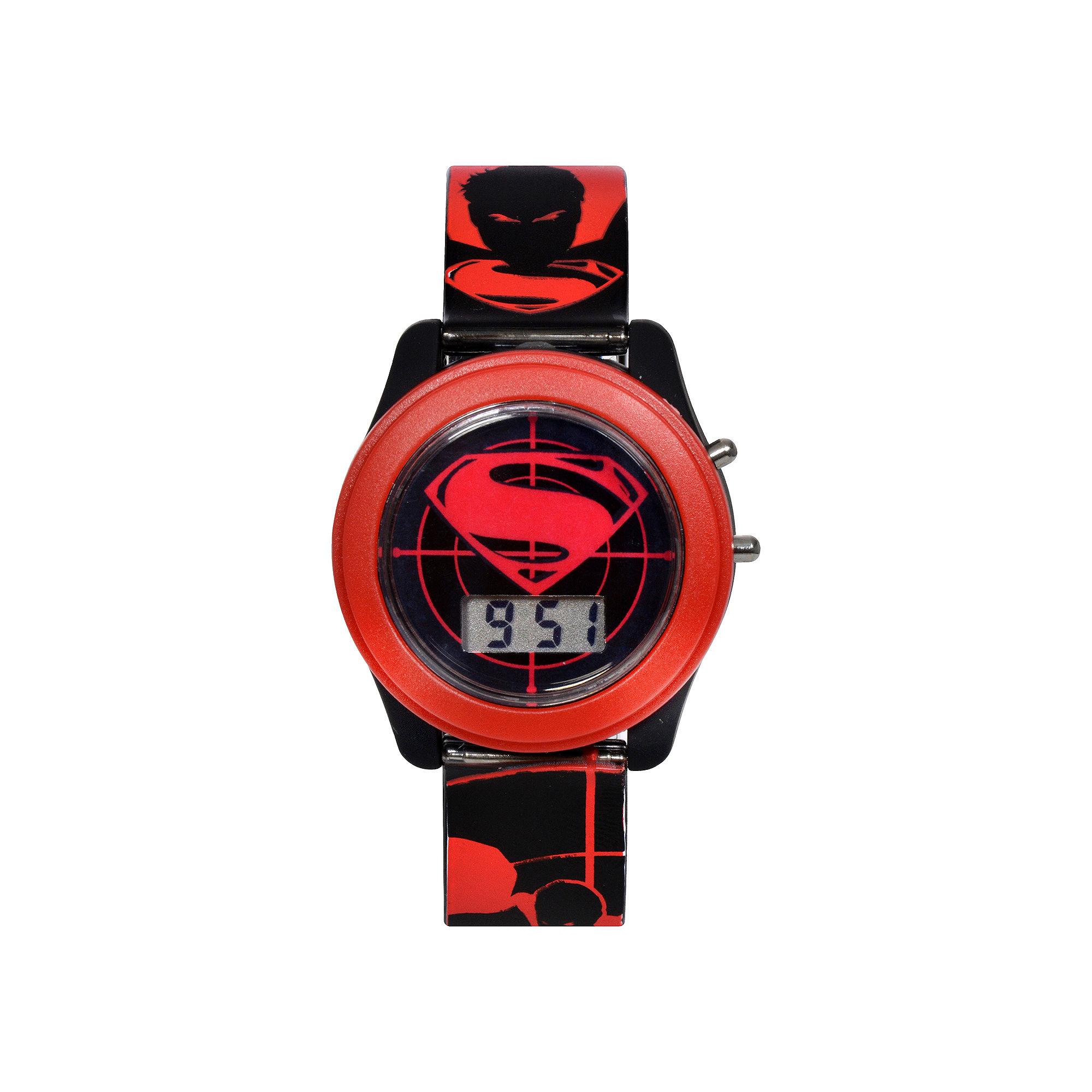 DC Comics Batman vs. Superman LCD Flash Dial with Printed Red Superman Watch