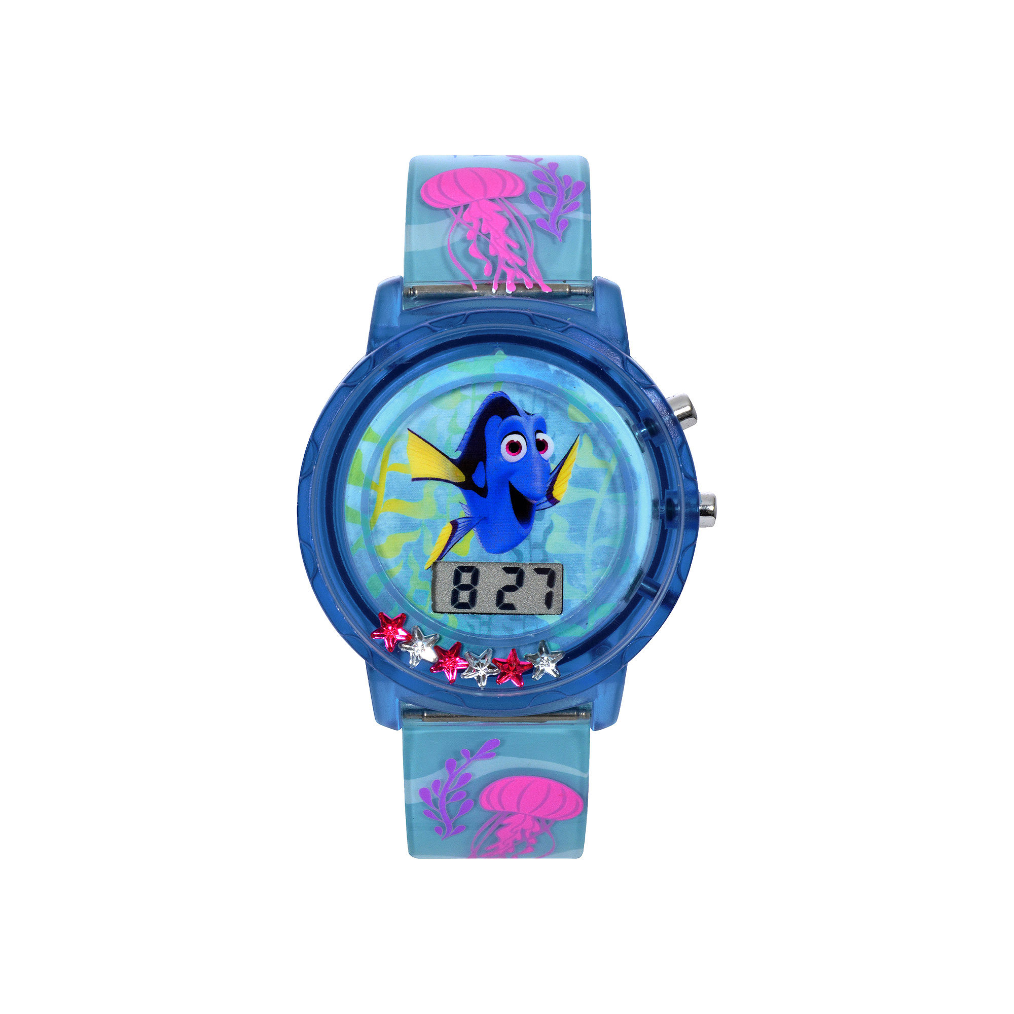Disney Finding Dory LCD Flashing Dial With Floating Stars Plastic Watch