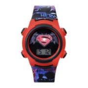 DC Comics® Superman Red Bezel and Black Strap LCD Kids Watch