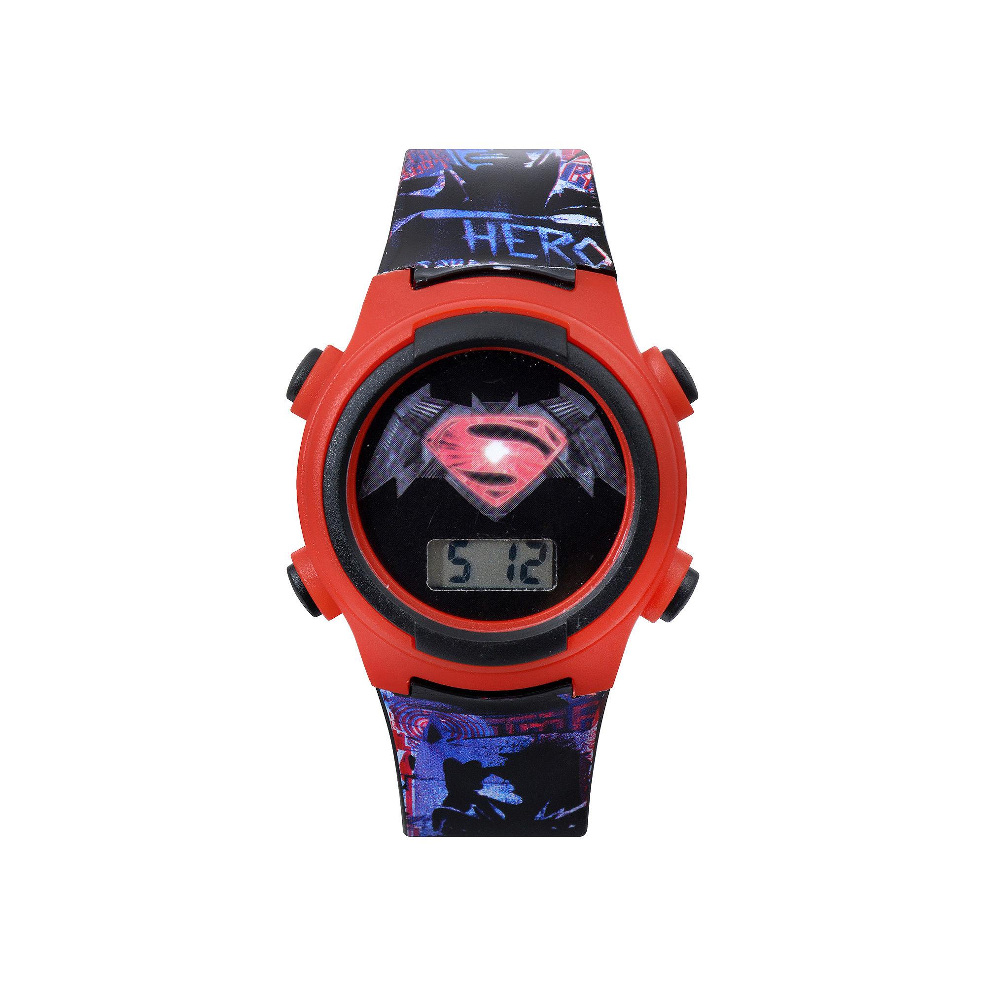 DC Comics Superman Red Bezel and Black Strap LCD Kids Watch