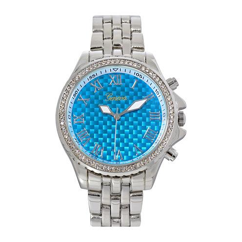 Geneva Womens Blue Checkerboard Dial Bracelet Watch