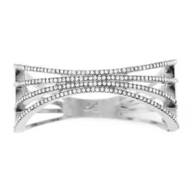 jcpenney.com | nicole by Nicole Miller® Crystal and Silver-Tone Hinge Cuff Bracelet