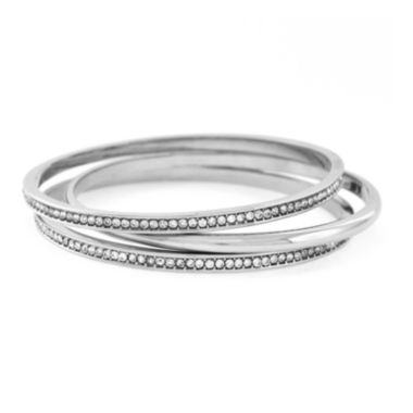 jcpenney.com | nicole by Nicole Miller® Crystal and Silver-Tone Bangle Bracelet