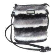 Adrienne Landau Striped Faux Fur Crossbody Bag