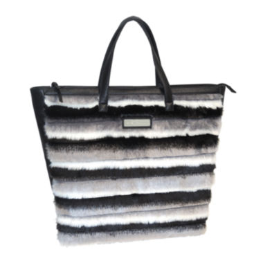 jcpenney.com | Adrienne Landau Striped Faux Fur Shopper Tote