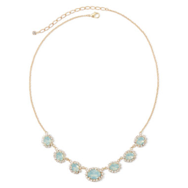 jcpenney.com | Vieste® Crystal and Mint Stone Gold-Tone Frontal Necklace