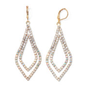 Vieste® Crystal Gold-Tone Double Drop Earrings