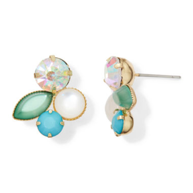 jcpenney.com | Vieste® Multicolor Crystal Gold-Tone Cluster Stud Earrings