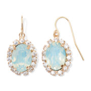 Vieste® Gold-Tone Mint Oval Drop Earrings