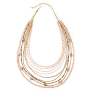 Decree® Seed Bead Gold-Tone Statement Necklace