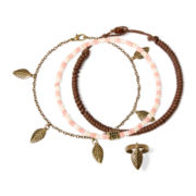 Arizona Wood Bead Gold-Tone Anklet and Toe Ring Set
