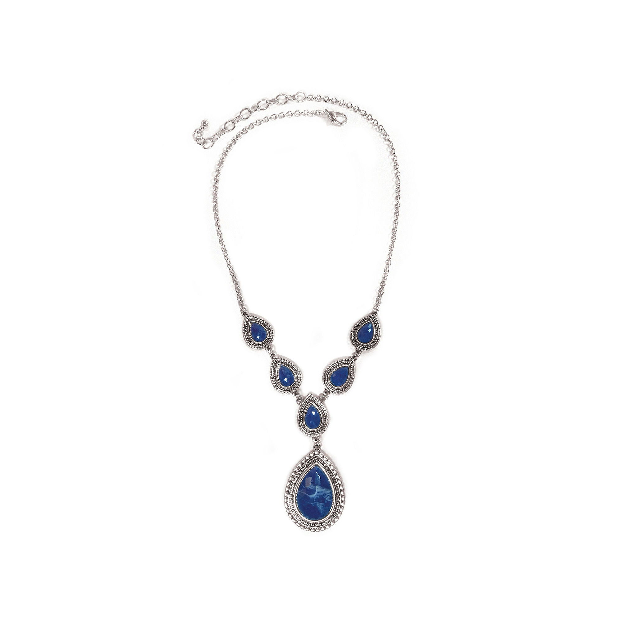 Studio By Carol Dauplaise Silver-Tone Dark Blue Pear Y-Necklace