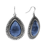 Studio By Carol Dauplaise Silver-Tone Dark Blue Large Pear Drop Earrings