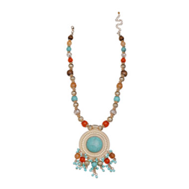 jcpenney.com | Mixit™ Gold-Tone Simulated Turquoise Metal Pendant Necklace