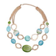 Mixit™ Blue & Green Shell Double-Row Statement Necklace