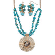 Mixit™ Aqua & Gold-Tone Pendant Necklace and Earrings Set