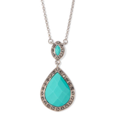 jcpenney.com | Monet® Green Silver-Tone Pendant Necklace