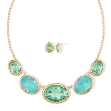 jcpenney.com | Monet® Aqua Gold-Tone Collar Necklace & Earring Set