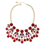Liz Claiborne® Red Gold-Tone Statement Necklace