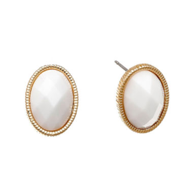 jcpenney.com | Monet® White Stone Gold-Tone Button Earrings