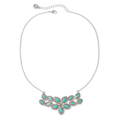 jcpenney.com | Monet® Green Silver-Tone Flower Necklace