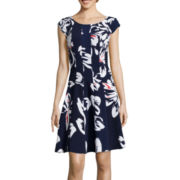 Robbie Bee® Cap-Sleeve Floral Print Fit-and-Flare Dress