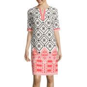 Studio 1® Elbow-Sleeve Diamond Print Shift Dress