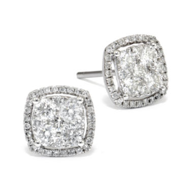 jcpenney.com | LIMITED QUANTITIES 1/2 CT. T.W. Diamond 14K White Gold Square Earrings