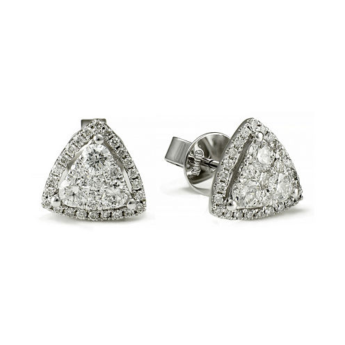 LIMITED QUANTITIES 3/4 CT. T.W. Diamond 14K White Gold Triangle Earrings