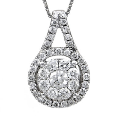 jcpenney.com | LIMITED QUANTITIES 1/2 CT. T.W. Diamond 14K White Gold Halo Pendant Necklace