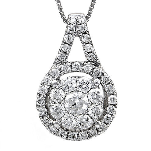 LIMITED QUANTITIES 1/2 CT. T.W. Diamond 14K White Gold Halo Pendant Necklace