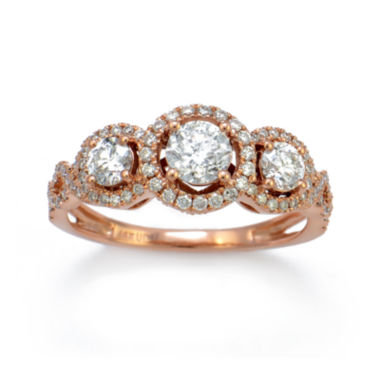 jcpenney.com | LIMITED QUANTITIES 1-1/7 CT. T.W. Diamond 14K Rose Gold 3-Stone Ring