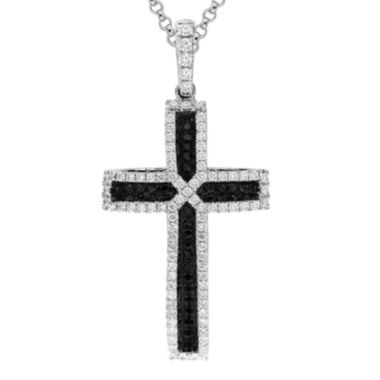 jcpenney.com | LIMITED QUANTITIES 3/4 CT. T.W. White and Color-Enhanced Black Diamond Cross Pendant Necklace