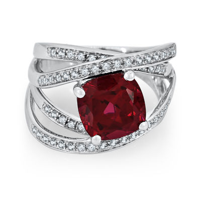 Lab Created Ruby Amp White Sapphire Sterling Silver Ring