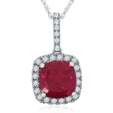 jcpenney.com | Lab-Created Ruby & Pave White Sapphire Sterling Silver Pendant
