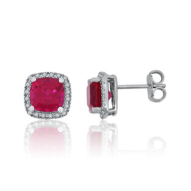 jcpenney.com | Lab-Created Ruby & White Sapphire Sterling Silver Halo Stud Earrings