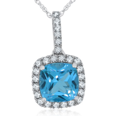 jcpenney.com | Genuine Blue Topaz & Lab-Created White Sapphire Sterling Silver Pendant Necklace
