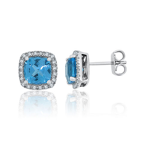 Genuine Blue Topaz & Lab-Created White Sapphire Sterling Silver Earrings