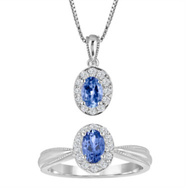 jcpenney.com | Genuine Tanzanite & Lab Created White Sapphire Sterling Silver Ring or Pendant