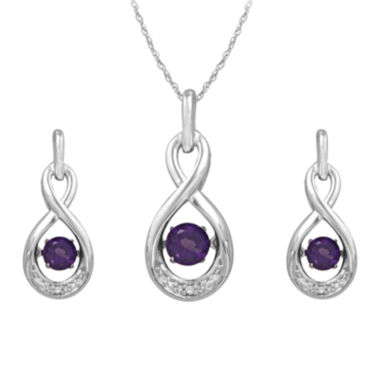 jcpenney.com | Love in Motion™ Genuine Amethyst & Lab-Created Sapphire 2-pc. Box Set