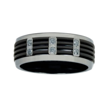 jcpenney.com | Mens 1/8 C.T. TW. Diamond Black Titanium Wedding Band