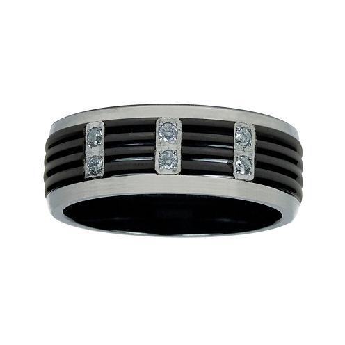 Mens 1/8 C.T. TW. Diamond Black Titanium Wedding Band