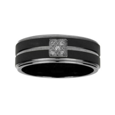 jcpenney.com | Mens Diamond Accent Black Titanium Wedding Band